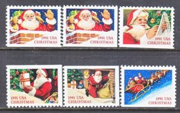 U.S. 2580-85  Type I  &   II    **    CHRISTMAS  SANTA - Christmas