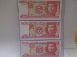 Cuba, 3  Pesos 2004, 2005, 2006, 3 Consecutive Years, Ernesto Che Guevara Picture, Crisp, UNC. How You Can See. - Cuba
