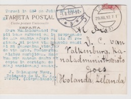 AKEO Card Sent From Teruel To Holland In 1912 - Written In Esperanto - Mi 233 King Alfonso XIII - Esperanto