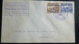 O) 1933 COSTA RICA, FIRST FLIGHT, TRAIN - LOCOMOTIVE - OVERPRINTED SURCHARGED- 5c On 10c SC C3 -20c On 50c SC C4, TO LIB - Costa Rica