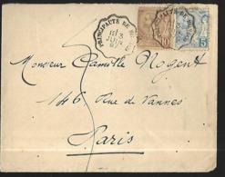 Monaco  Lettre  Du  03 06 1897     Cat Yt N° 14 Et 15 De La Principauté Pour Paris - Covers & Documents