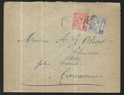 Monaco  Lettre  Du  04 1901     Cat Yt N° 22  Et 23 De La Principauté Pour Carcassonne - Covers & Documents