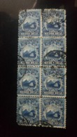 O) 1863 COSTA RICA, COAT OF ARMS 1/2r BLUE -SC 1, BLOCK OF 8 STAMPS,XF - Costa Rica