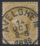 """émission 1869 - N°32 Obl Simple Cercle """"Avelghem"""". Superbe - 1869-1883 Leopold II."""