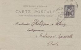 Carte Sage 10 C G10 Oblitérée Repiquage Société De La Dynamite - Entiers Postaux