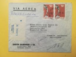 1960 BUSTA INTESTATA URUGUAY STORIA POSTALE BOLLO BOISO LANZA RACCOMANDATA RECOMENDADA ANNULLO MONTEVIDEO - Uruguay