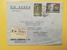 1960 BUSTA INTESTATA URUGUAY STORIA POSTALE BOLLO BOISO LANZA GRONCHI RACCOMANDATA RECOMENDADA ANNULLO MONTEVIDEO - Uruguay