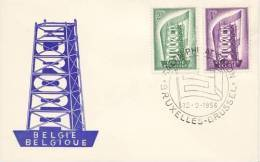 BELGIUM  EUROPA CEPT 1956  FDC - Europa-CEPT