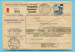 Einzugsauftrag Räfis 1954 - Absender: Teppichweberei Jann - Svizzera