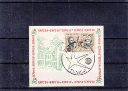 Expo De Bruxelles De 1958 - Tunesie - Carte De 1958 - Timbre Tunesien Avec Surcharge - - 1958 – Brussels (Belgium)