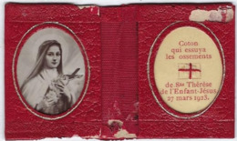 Etui Cuir Relique  Sainte Therese De L'enfant Jesus 27 Mars 1923 Coton Qui Essuya  Les Ossements Je Veux Passer Mon Ciel - Religion & Esotericism