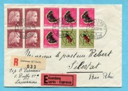 Express R-Brief Mit Sechserblock Von Lausanne Nach Sélestat 1953 - Pro Juventute