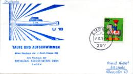 """(UB) BRD Umschlag Mit Cachet-Zudruck """"U-BOOT """"U18 S197 - Taufe Und Aufschwimmen"""" EF BRD Mi 706 TSt 31.10.1972 EMDEN 1 - Submarines"""