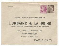 ENTIER GANDON 3FR BRUN ENVELOPPE TIMBRE SUR COMMANDE L'URBAINE LA SEINE NEUF - 1945-54 Marianne Of Gandon