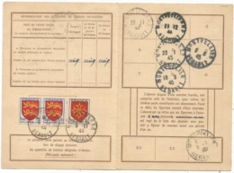 BLASON 20FRX2+10FR CARTE ABONNEMENT PTT MONTPELLIER 9.11.1944 AU TARIF - Marcofilia (sobres)
