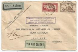 PA 1FR50 N°260 LETTRE AVION VIA AIR ORIENT MARSEILLE 16.1.1931 POUR SAIGON + AUTOGRAPHE - Postmark Collection (Covers)