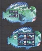 ML207 2016 MALDIVES MARINE LIFE WWF GREEN HUMPHEAD PARROTFISH 1KB+1BL MNH - W.W.F.