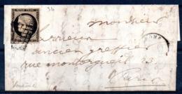 YT N° 3b Sur Lettre De Fevr. 1850 - Cote: 375,00 € - 1849-1850 Ceres