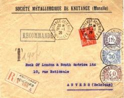 1926- Env. RECC. Affr. Semeuse 1,05 F Oblit. Cad Hexag Plein De KNUTANGE-ACIERIES / Moselle TAXEE En Belgique - Marcophilie (Lettres)