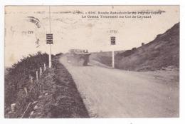63 Route Automobile Du Puy De Dôme N°406 Grand Tournant Col De Ceyssat VOIR ZOOM BUS Autocar Cabriolet Ancien En 1933 - Francia