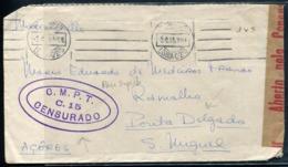 PORTUGAL - LETTRE AVEC TP OTÉE, O.M. DE LISBOA LE 3/4/1944 POUR LES ACORES AVEC CENSURE - TB - Marcophilie