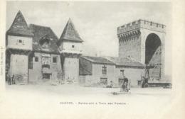 CARTE POSTALE ORIGINALE ANCIENNE : CAHORS  BARBACANE ET LA TOUR DES PENDUS  POMPE A EAU  ANIMEE  LOT (46) - Cahors