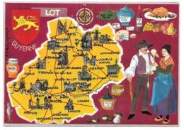 46 - LES DEPARTEMENTS FRANÇAIS VUS PAR IRIS - LOT - Carte Illustre Du Département - Champignons Miel Huile De Noix - Non Classés