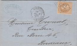 France Yvert 28 Sur Lettre Avec Correspondance  Cachet Bordeaux Les Salinières 9/4/1870 GC 532 B Pour Bordeaux - Storia Postale