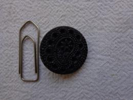 Bouton  Verre Noir Decor Fleur - Loisirs Créatifs
