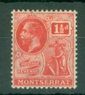 Montserrat: 1922/29   KGV   SG68   1½d   Carmine   MH - Montserrat