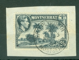 Montserrat: 1938/48   KGVI   SG109a    2/6d  [Perf: 14]    Used On Piece - Montserrat
