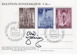 """FDC - Baustein Sonderkarte  25,- Serie """" Dom Zu St. Stephan """"  Stephansdom Wien Pummerin 24.04.1977 Ersttag - FDC"""