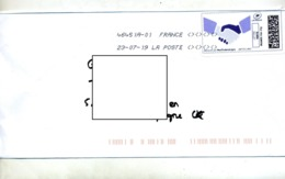 Lettre Flamme Sur Timbre En Ligne Main - Marcophilie (Lettres)