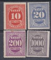 Brésil Timbres-Taxe  N° 10 / 11 + 13 + 17 X Partie De Série Les 4 Valeurs  Trace De Charnière Sinon TB - Dienstzegels