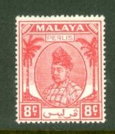 Malaya - Perlis: 1951/55   Raja Syed Putra   SG13   8c   Scarlet   MH - Perlis