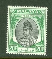 Malaya - Perlis: 1951/55   Raja Syed Putra   SG18   20c    Black & Green  MH - Perlis