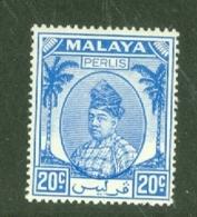 Malaya - Perlis: 1951/55   Raja Syed Putra   SG19   20c    Bright Blue  MH - Perlis