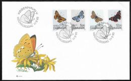Danmark, Butterflies, 1993, FDC - Danimarca