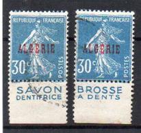 Algérie N° 17a (Semeuse Avec Bande Publicitaire) - Lot De 2 Différents - Argelia (1924-1962)