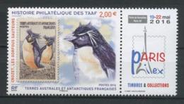 TAAF 2016  N° 789 ** Neuf MNH Superbe Faune Oiseaux Gorfous Exposition Philex Paris Birds Timbres Sur T. - Terres Australes Et Antarctiques Françaises (TAAF)