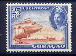 CURACAO - A28** - REINE WILHELMINE / AVION AU DEPART - Curazao, Antillas Holandesas, Aruba