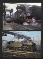 Locomotive Traction Vapeur Paris  - 2 Cartes Postales Chemins De Fer Train SNCF - Gares - Avec Trains