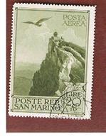 SAN MARINO - UNIF. A48 POSTA AEREA   - 1944 AQUILA SUL  TITANO   -  USATI (USED°) - Airmail