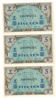 Japan Allied Military Currency, 5 Yen X3 Consec.  P-69a. AUNC/UNC. - Japan