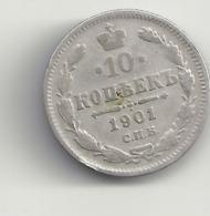 10 Kopeken 1901 Russland.Silber. - Russia