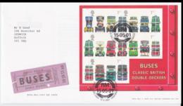 Great Brtain FDC 2001 Buses Souvenir Sheet (NB**L75-6B) - Busses