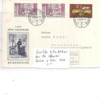 SUISSE N° 473.477x2 SUR PLI ILLUSTRE POSTIER A VELO 1949 - Svizzera