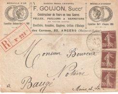 Lettre Recommandée St Clément Des Levées 1922 Semeuse Camée - Postmark Collection (Covers)