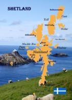 Scotland Shetland Islands Map New Postcard Schottland Landkarte AK - Shetland