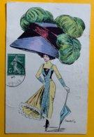 8926 - Mode Femme à Garnd Chapeau Illustration G.Mouton - Andere Illustrators
